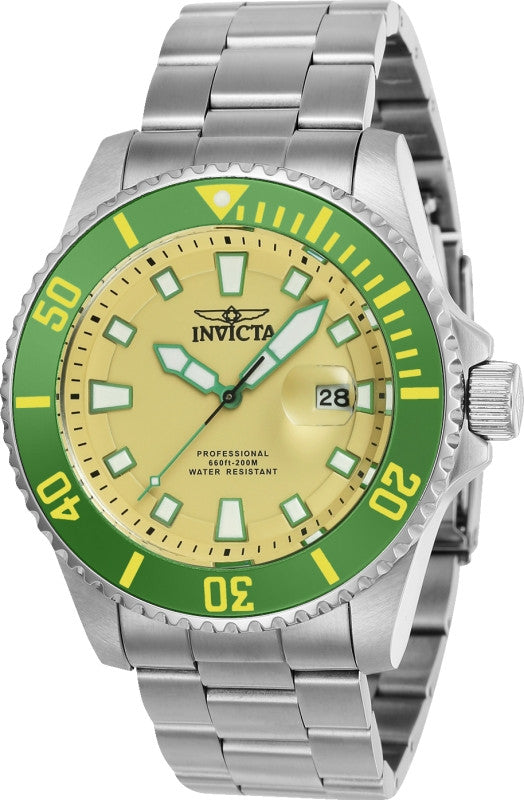 Invicta Men's 90293 Pro Diver Quartz 3 Hand Beige Dial Watch