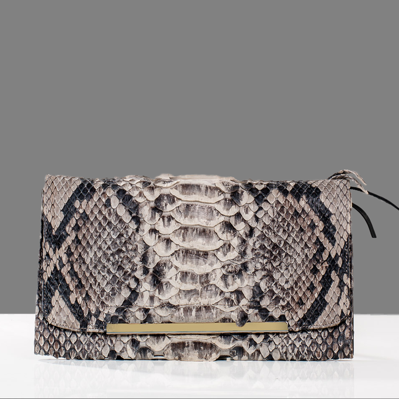 Breanna Python and Leather Reversible Clutch