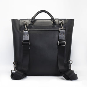 Unisex black backpack. Mens Backpack, womens backpack. Crafted in sleek Italian saffiano leather with python detail. Gregory has a modern slim profile with space for a laptop, tablet or iPad.