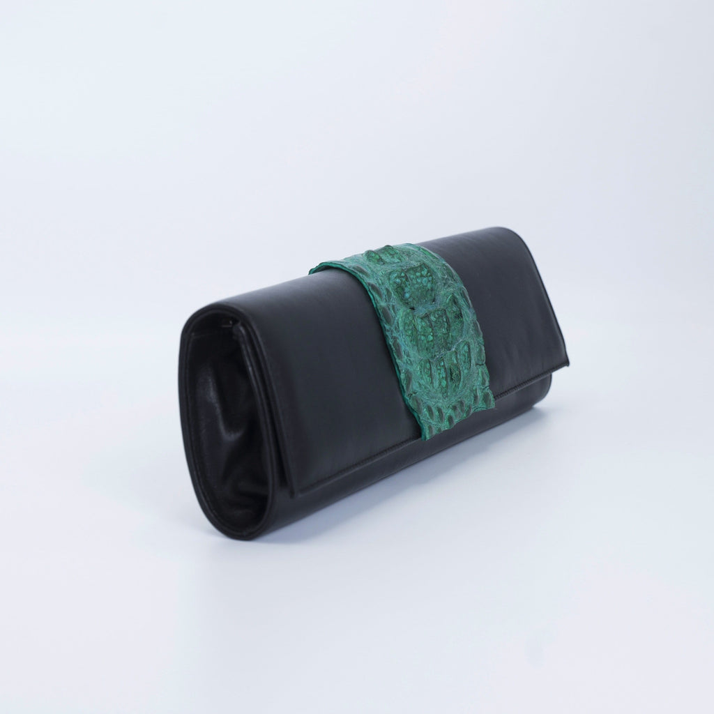 Green and black clutch. Kate Crocodile and leather clutch. Sexy curves, sleek lines, soft materials, with bold color pallet make this an unforgettable masterpiece. Free shipping.