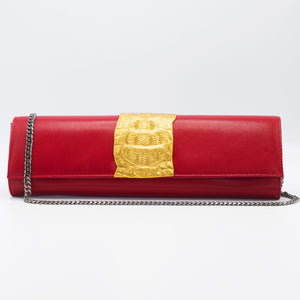 Gold and red clutch. Kate Crocodile and leather clutch. Sexy curves, sleek lines, soft materials, with bold color pallet make this an unforgettable masterpiece. Free shipping.