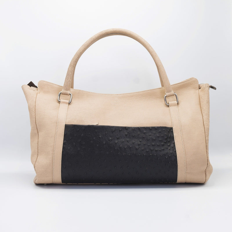 Blush and Black Leather bag, with genuine Ostrich external pocket.