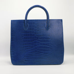 Blue crocodile embossed leather handbag, carryall, holdall for Huntington's Disease Society charity.