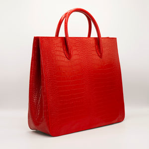 Red Crossbody bag. Handcrafted in crocodile embossed Turkish leather, protective feet, with leather trimmed internal pockets.