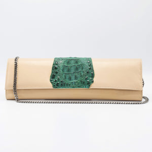 Oyster and green clutch. Kate Crocodile and leather clutch. Sexy curves, sleek lines, soft materials, with bold color pallet make this an unforgettable masterpiece. Free shipping.