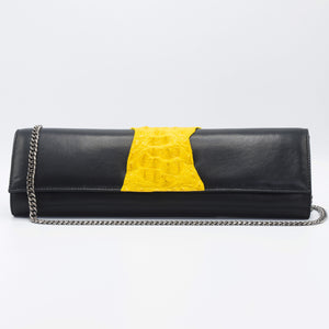 Yellow and black clutch. Kate Crocodile and leather clutch. Sexy curves, sleek lines, soft materials, with bold color pallet make this an unforgettable masterpiece. Free shipping.