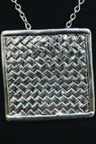 S643 - Silver Woven Square Charm Neckalce