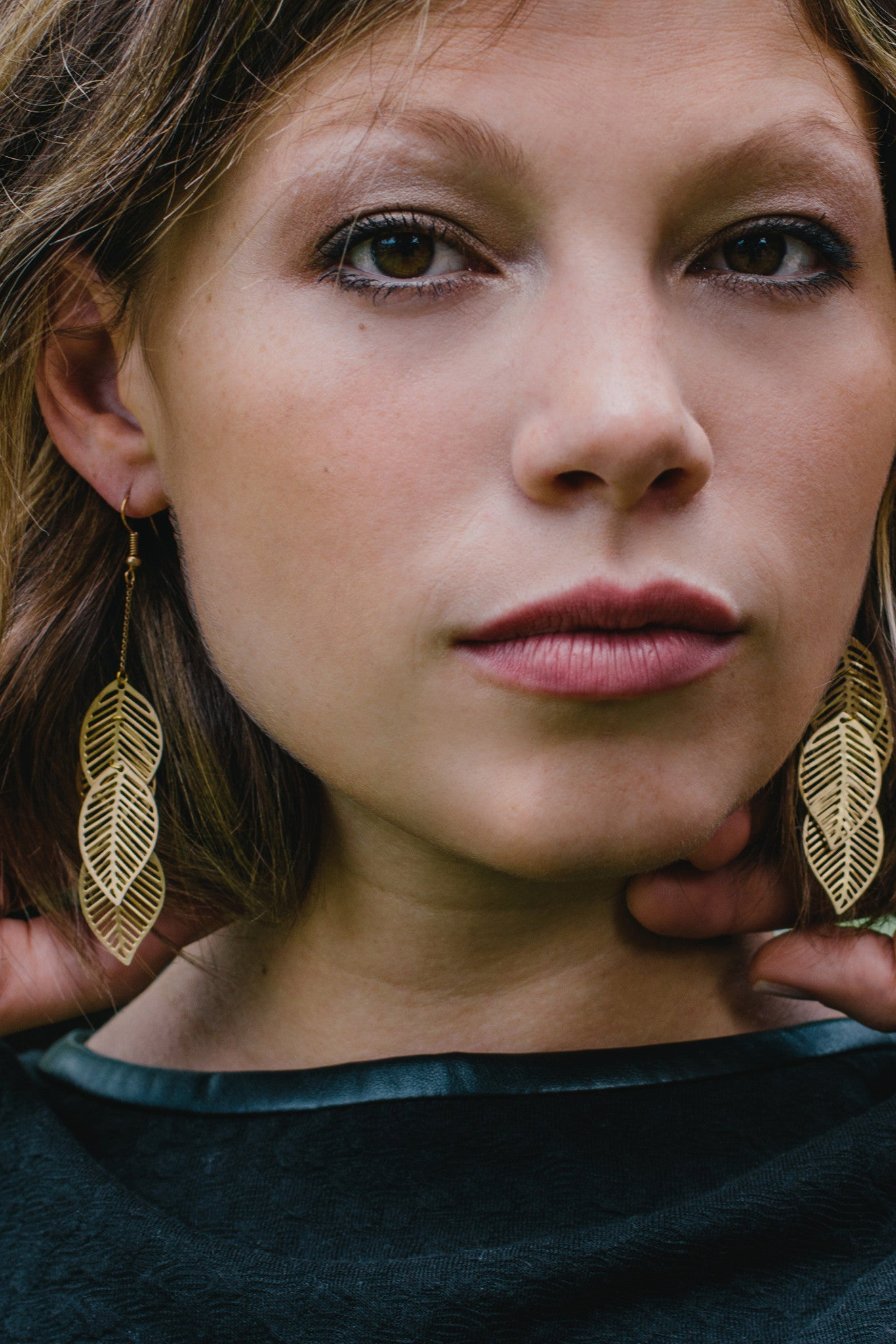 GC701 - Layered Gold Leaf Earrings