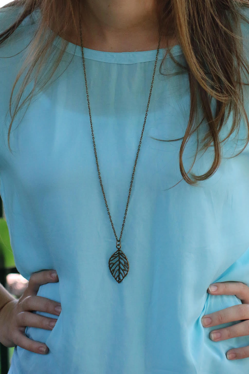 E130 - Bronze Leaf Charm Necklace