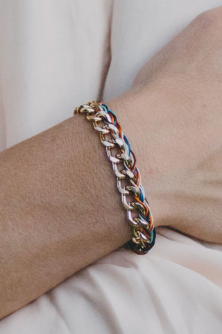 E421 - Chain & Braided Thread Bracelet