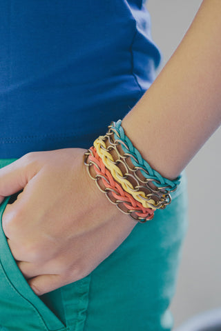 E403 - Bright Felt & Bronze Chain Bracelet