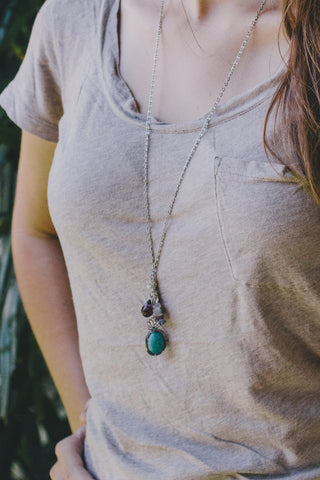 E216 - Wrapped Turquoise Stone Charm Necklace