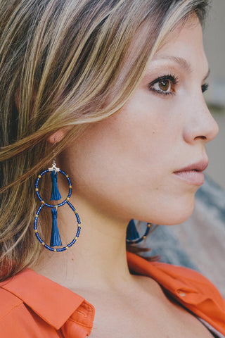 E422 - Blue Beaded Tassel Statement Earrings