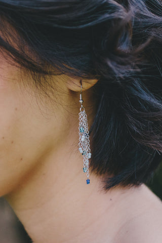 E407 - Cascading Blue Earrings