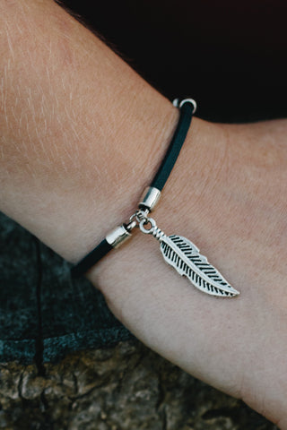 S614a - Faux Leather Bracelet with Feather Charm