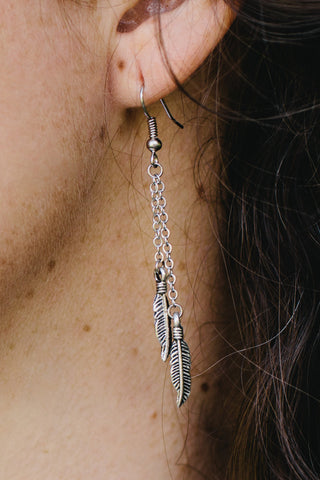 S605 - Feather Charm Earrings
