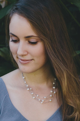 P309 - Cascading Pearl Necklace