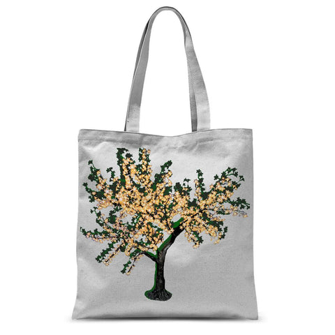 Shadow Tree in Green Sublimation Tote Bag