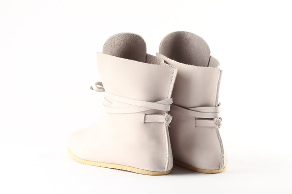 White leather summer boots
