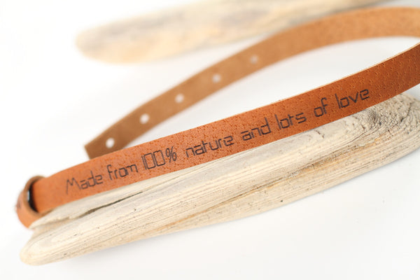 "Leather wrap bracelet ""Made from 100% nature and lots of love"" - WildGood"