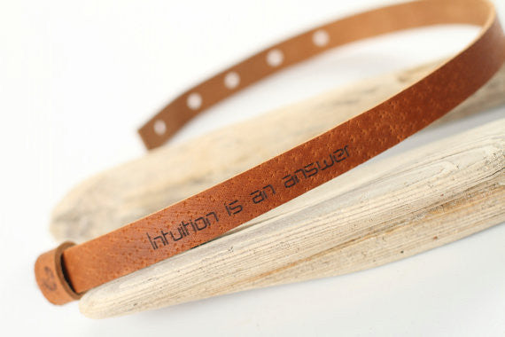 "Leather wrap bracelet ""Intuition is an answer"" - WildGood"