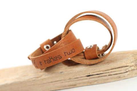 "Leather wrap bracelet ""It takes two"" - WildGood"