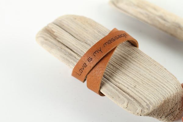 "Leather wrap bracelet ""Love is my message"" - WildGood"