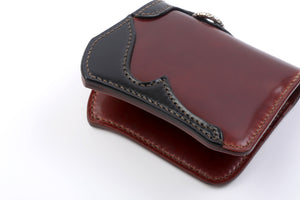 The Flat Head Cordovan Mini Wallet(Whiskey Body X Black Quarter)