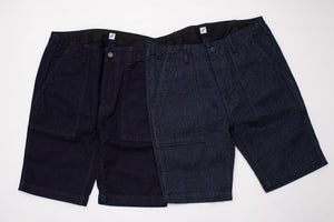 PURE BLUE JAPAN 12OZ DUCK/SASHIKO BAKER SHORTS
