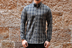 FREEWHEELERS 8OZ OMBRE CHECK SHIRT (GREY)