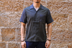MOMOTARO 'COMBO' STRIPED COTTON/LINEN S/S SHIRT (INDIGO X BLACK)
