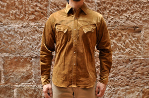 STEVENSON OVERALL CO. 'CODY' STRETCH CORDUROY WESTERN SHIRT (BROWN)