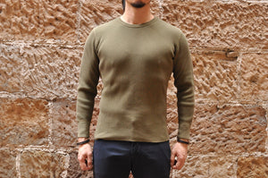 STUDIO D'ARTISAN 11OZ ULTRA HEAVY THERMAL SHIRT(OLIVE)