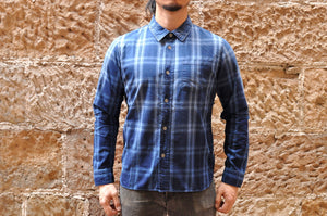 PURE BLUE JAPAN 8OZ INDIGO 'SUNBURNT' CHECK SHIRT