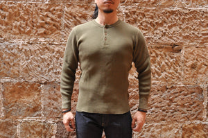 STUDIO D'ARTISAN 11OZ ULTRA HEAVY HENLEY THERMAL (OLIVE)