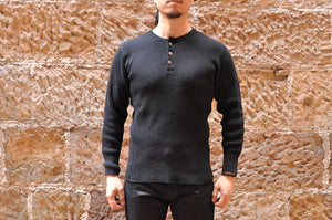 STUDIO D'ARTISAN 11OZ ULTRA HEAVY HENLEY THERMAL (BLACK)
