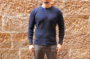 STUDIO D'ARTISAN 11OZ ULTRA HEAVY HENLEY THERMAL (NAVY)