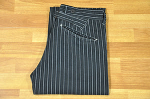 Stevenson Overall 'Gambler' 12oz Black Dobby Stripes Chinos (Straight Tapered fit)