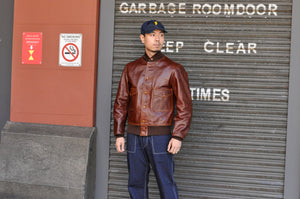 FREEWHEELERS 37J1 'AVIATOR' HORSEHIDE JACKET (TATANKA BROWN)