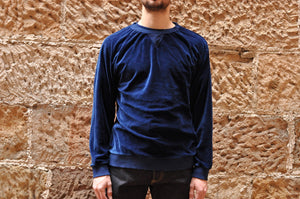 Blue Blue Japan Indigo Dyed Velvet Sweatshirt
