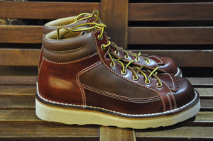 The Flat Head Cordovan X Deerskin Hiking Boots(Brown Tea-Cord Cordovan)