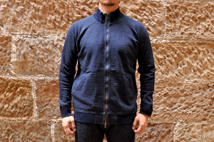 PURE BLUE JAPAN INDIGO RIBBED TRACK JACKET