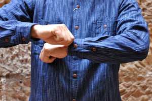 STUDIO D'ARTISAN 9OZ INDIGO KASURI WORKSHIRT