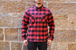 IRON HEART 14OZ ULTRA HEAVY FLANNEL CHECK WORK SHIRT (RED X BLACK)