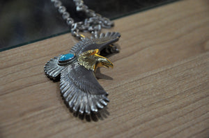 First Arrow's Large Eagle With Turquoise Pendant Set 4 Years In Use