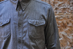 Orgueil Lightweight Chambray Early Workshirt (Black Pepper)