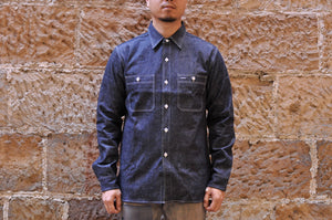 WAREHOUSE 10OZ SELVAGE DENIM 'TRIPLE STITCHED' WORK SHIRT (INDIGO)