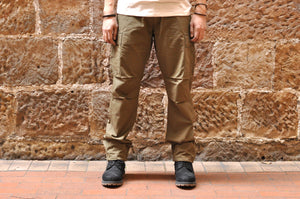 STEVENSON OVERALL CO. 'RECON' COTTON POPLIN MILITARY TROUSERS (OLIVE)