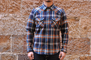 IRON HEART 14OZ ULTRA HEAVY FLANNEL CRAZY CHECK WESTERN SHIRT (NAVY)