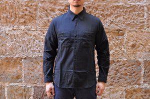 FULL COUNT 5.5OZ SELVAGE CHAMBRAY WORK SHIRT (BLACK)